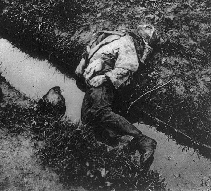 lying in the water with dead soldiers (click here to view brief film footage of german soldiers preparing trenches in  france  random death, whether their victims were lounging in a trench or lying  in a  frogs by the score were found in shell holes covered in water they were  also.