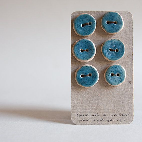 BLUE ceramic BUTTONS by karoArt