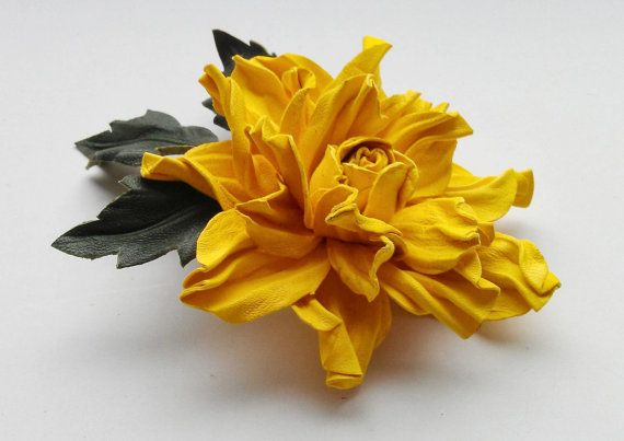Handmade genuine leather flower brooch in yellow color, Leather brooch, Handmade flower, Leather flower,Mother of bride gift,Bridesmaid gift