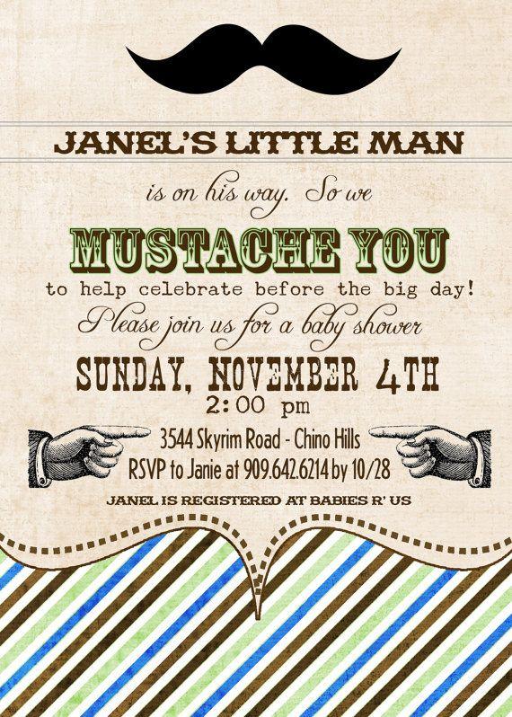 Mustache Birthday/Shower Invitation  5x7 DIGITAL by PinkDandelions, $12.50