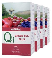 Qi Organic Fairtrade Green Tea Plus (1 Month)        Green tea with a burst of fruitiness with blueberry, pomegranate and red grape. The abundance of real fruit gives this tea a delightfully fresh, fruity taste. The ideal way to start your day.   ONE MONTH SUPPLY  (4 packs/100 bags) £11.04
