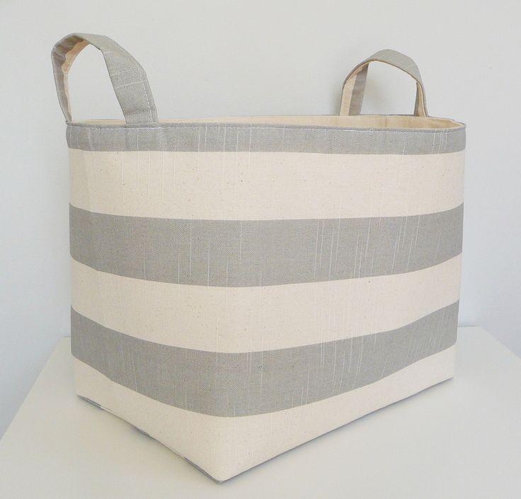 Extra Large Storage Basket Fabric Organizer in Premier Prints Coastal Stripe Grey & Natural - Choose Size by littlehenstudio on Etsy https://www.etsy.com/listing/231792352/extra-large-storage-basket-fabric