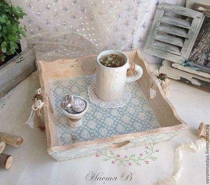 Кухня ручной работы. Ярмарка Мастеров - ручная работа Поднос Голубой. Handmade.