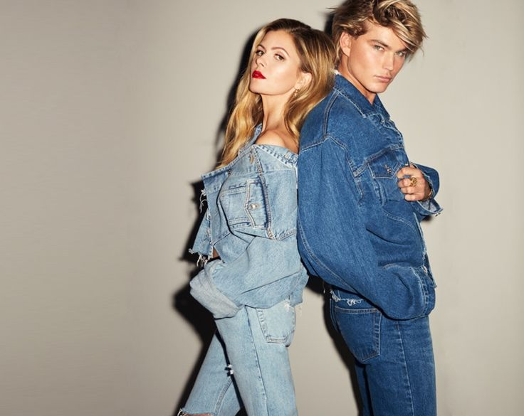 Stylist Elizabeth Sulcer poses with Jordan Barrett for Miss Sixty collaboration