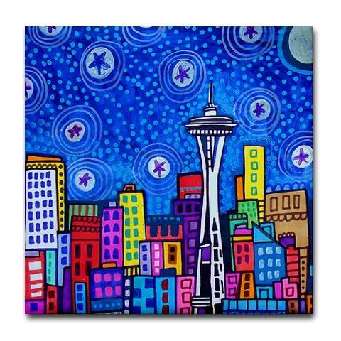 Seattle Washington Art Tiles - Ceramic Tile Art - Cityscape City Art -Modern Abstract Print on Coaster | HeatherGaller -