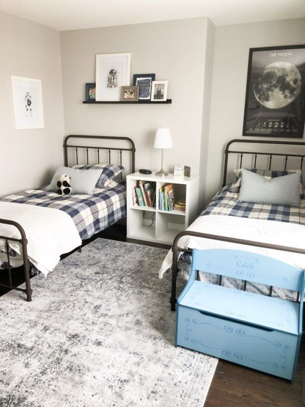 Farmhouse Style Boys Room With Matching Twin Metal Beds Switching Things Up In The Boys Bedroom Valley Birch Bedroom Decor Kids Bedroom Decor Stylish Bedroom
