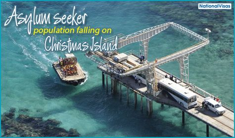 Christmas Island population decreases due to new refugee policies.