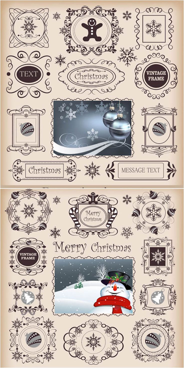 Free christmas vectors download christmas vector images and art free - Ornate Christmas Frame Templates Vector