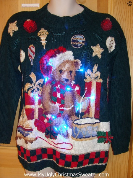 "Vintage 80s Bear Funny Light Up Christmas Sweater ... ""Vintage""?  80's?"