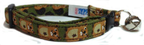 Breakaway Cat Collar in Forrest Green with Beavers USA Made * Want to know more, click on the image.