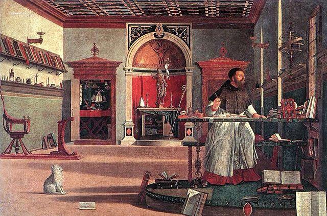 """CARPACCIO. """"Sant'Agostino nello studio o Visione di sant'Agostino"""". tempera su tela. 1502. Scuola di San Giorgio degli Schiavoni,  Venezia."""