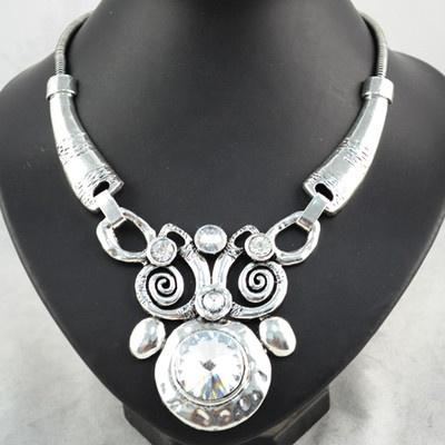 Super Elegant Silver Three Drop Pendant Black Jewellery Necklace Scarf, NL-1441