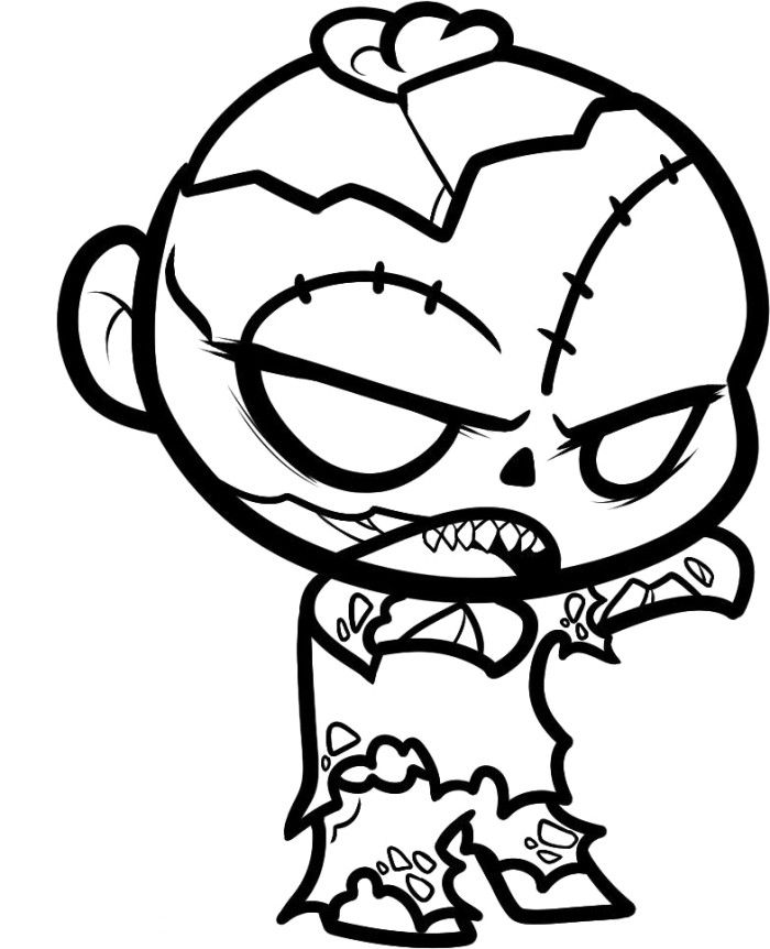 Big Headed Zombie Coloring Pages