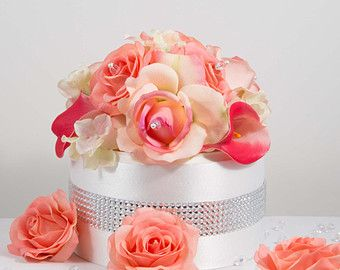 Coral Wedding Bridal Cake Topper. Real Touch Flowers Roses, Hydrangeas, Calla Lilies, Crystals
