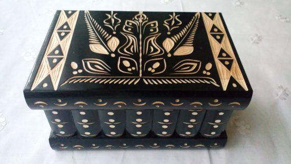 Grand puzzle en bois noir boîte, boîte à secrets, boîte magique, boîte de rangement bijoux, coffret en bois, boîte de bibelot belle, jouet en bois pour les enfants