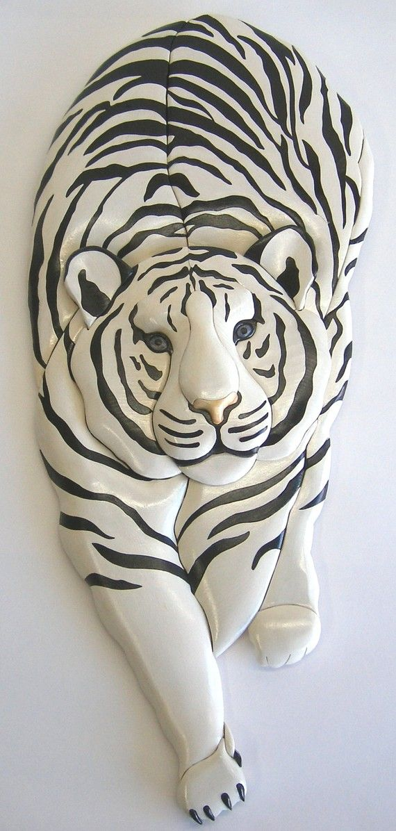 WHITE TIGER STALKING, Original Intarsia Sculpture on Etsy, $165.00