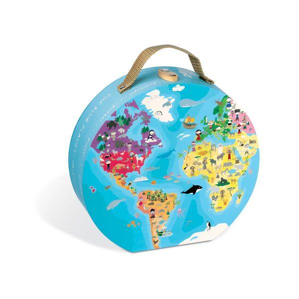 Maleta puzzle 208 piezas niños y animales del mundo