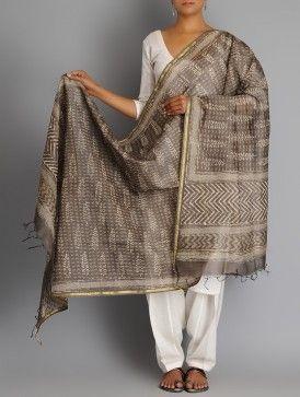 Taupe-Ecru Cotton Silk Chanderi Zari Border Bagru Printed Dupatta