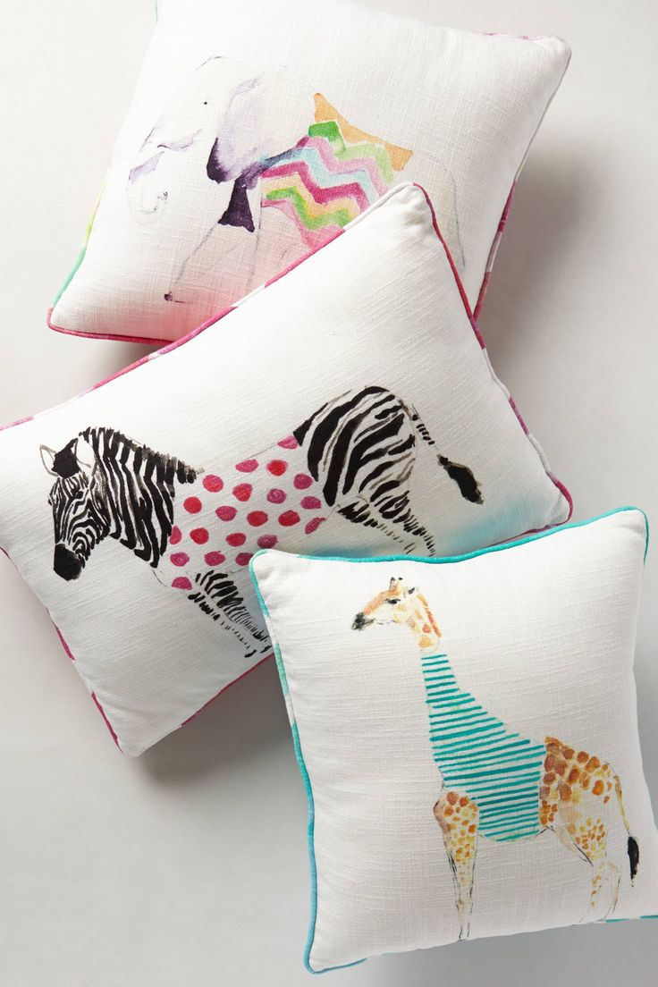 Beautiful animal illustrations on cushions