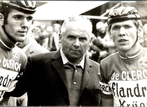 Roger De Vlaeminck, CX promoter Van Mirlo, and Eric De Vleaeminck in 1969. Photo from Archive.
