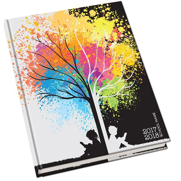 Branching Out Yearbook Cover. Studying under the tree of knowledge is a time honored tradition that leads to success. This colorful cover represents the importance of the journey of education. Matching backgrounds are available to keep your cover theme going throughout the book!
