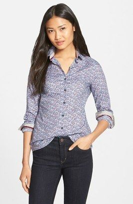 Barbour 'Badminton' Floral Print Woven Shirt - Shop for women's Shirt - Ditsy Blue Shirt