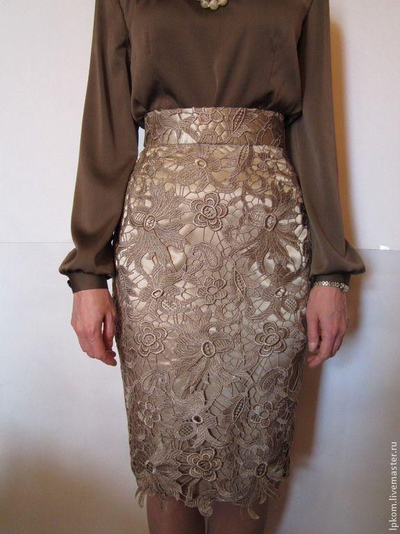 Купить Нарядная юбка из кружева - бежевый, цветочный, юбка-карандаш, кружево, кружевная ткань