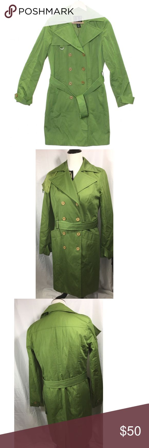 Inc green trench/rain coat Lightweight trench coat, length 36, bust 19, belted INC International Concepts Jackets & Coats Trench Coats