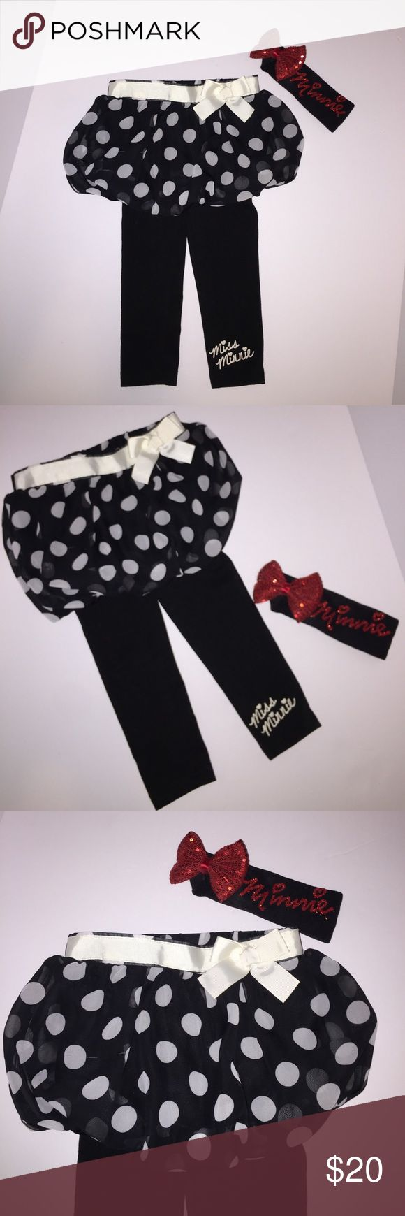 Minnie Mouse Bubble Skirt/leggings Minnie Bow 3T Minnie Mouse Bubble Skirt with attached leggings size 3T and Matching Minnie Headband Bow. super cute!! Great Condition! Disney Bottoms Skirts