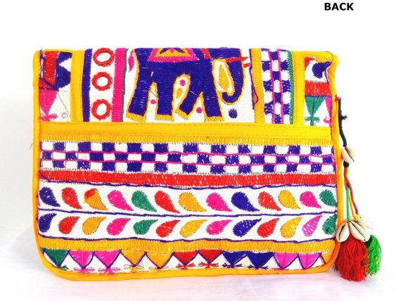 Elephant kutch embroidered Clutch by craftsofgujarat on Etsy