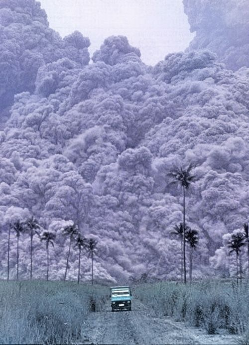 Pyroclastic flows are mixtures of hot gas, ash and other volcanic rocks travelling very quickly down the slopes of volcanoes.