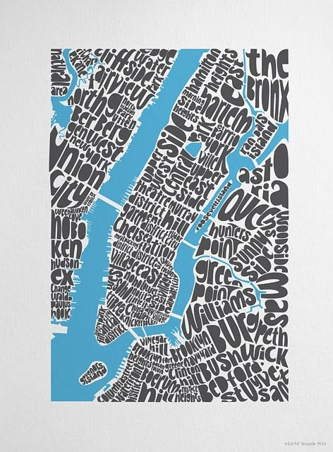 Typographic New York City map