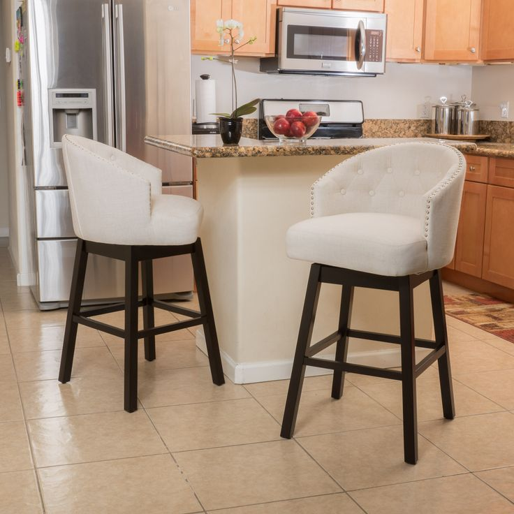 Westman Beige Fabric Swivel Backed Barstool Set Of 2