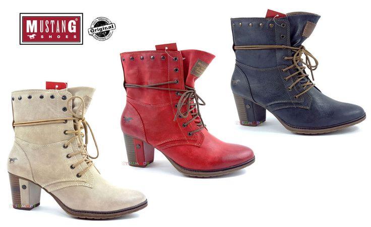 Neu Mustang Stiefel Stiefeletten Boots Booty Schuhe Schnür Damenschuhe 1199-505
