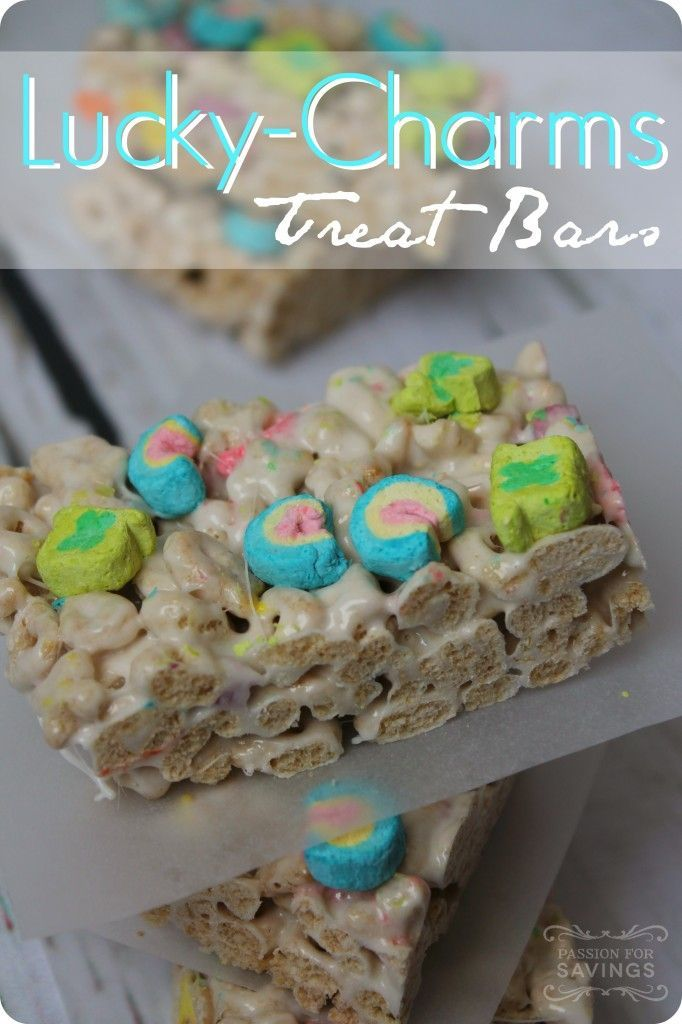 Fun St. Patrick's Day Recipe for Kids! You can make Lucky Charms Treat Bars, these are so easy that your kids will love helping you make them   They are the perfect Over the Rainbow treat for class parties and more!