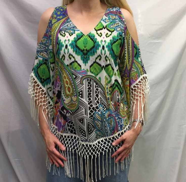 CHICO'S Tunic TOP SZ 0 (4/6) Retro COLD SHOULDER Fringe Paisley NEW #Chicos #Tunic #Career