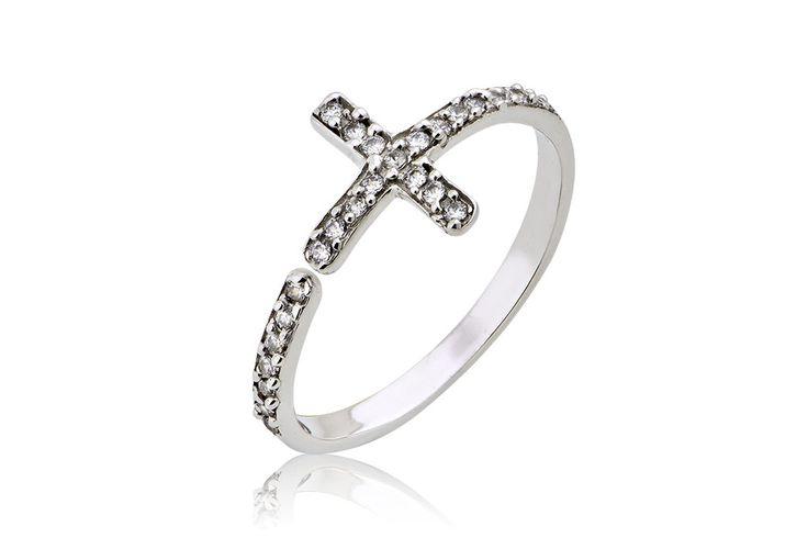 Κrouaze Ring With Cross Δαχτυλίδι με λευκά cz από λευκόχρυσο 18Κ. Price : 170€
