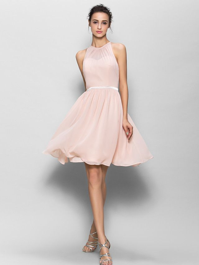 Knee-length Georgette Bridesmaid Dress - Pearl Pink A-line Jewel - USD $ 79.99