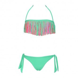maillot de bain enfant franges fluo multicolore emeraude maillot de bain pinterest. Black Bedroom Furniture Sets. Home Design Ideas