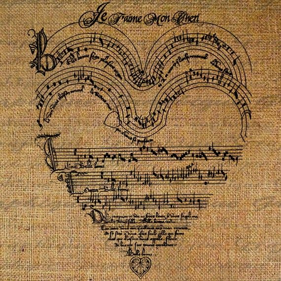 French I Love You Heart Music Score Valentines Day Digital Image Download Transfer Pillows Tote Tea Towels Burlap No. 1545