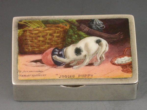 VICTORIAN ENAMELLED VESTA CASE JUGGED PUPPY HORTON & ALLDAY, BIRMINGHAM 1887