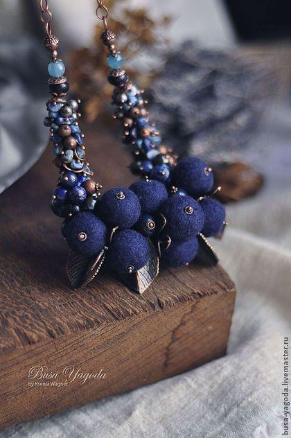"""Колье """"Горсть черники"""" - тёмно-синий,синий,черника,колье с камнями,колье с цветами"""