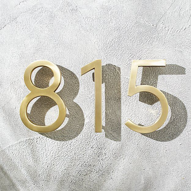 Aurele 6 Brushed Brass House Numbers Cb2 In 2020 House Numbers Floating House Lion Door Knocker