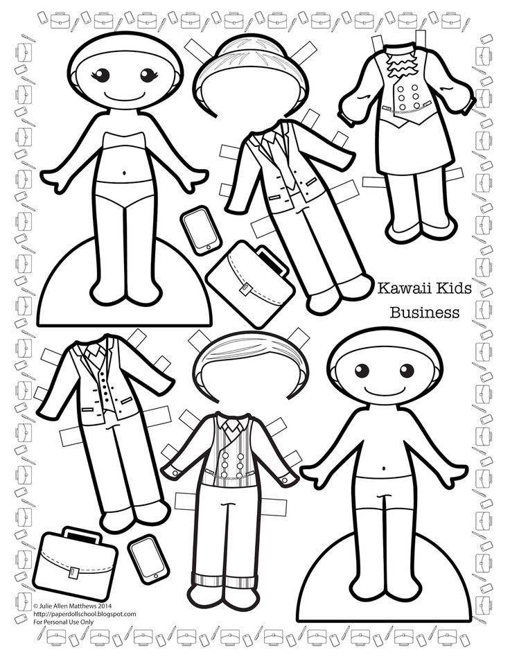 Paper Doll School: Kawaii Kids - Business.  Paper dolls to print and color!