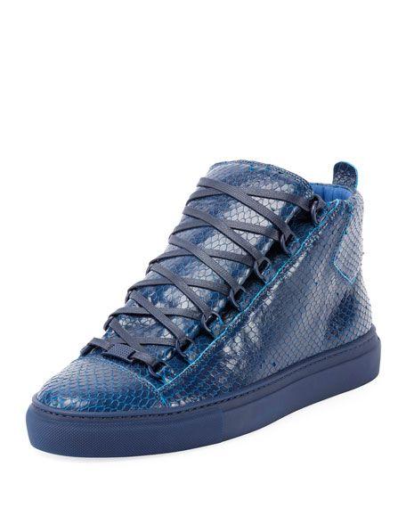 de8b63075a22 BALENCIAGA Men S Arena Python-Embossed Leather High-Top Sneaker ...