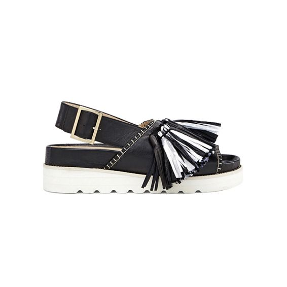 New Hippie Chic – Blugirl Spring Summer 2017 • Black leather sandal with tassels.