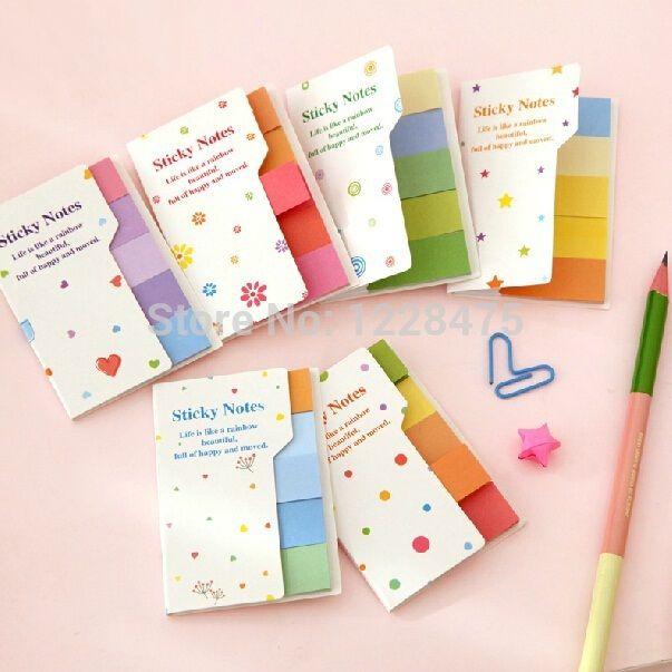12 set/Lot Rainbow notas adhesivas Multicolor colocar it etiquetas engomadas scrapbooking bloc bookmark útiles de oficina material escolar