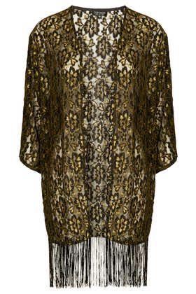 Lace Fringe Kimono - Dark Craft  - Clothing