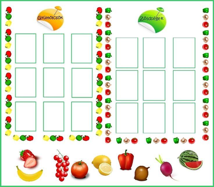 Válogasd szét a gyümölcsöket és a zöldségeket!