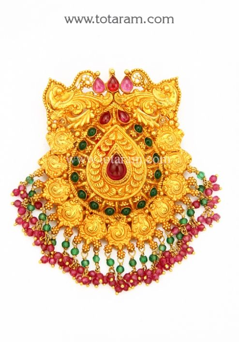 22K Gold 'Peacock' Pendant(Temple Jewellery): Totaram Jewelers: Buy Indian Gold jewelry & 18K Diamond jewelry